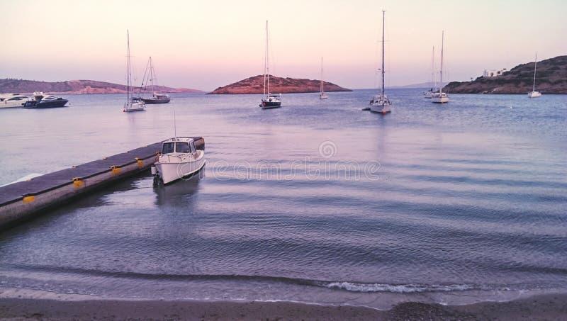 Marathi, Dodecanese islands. Port of Marathi, Dodecanese islands royalty free stock images