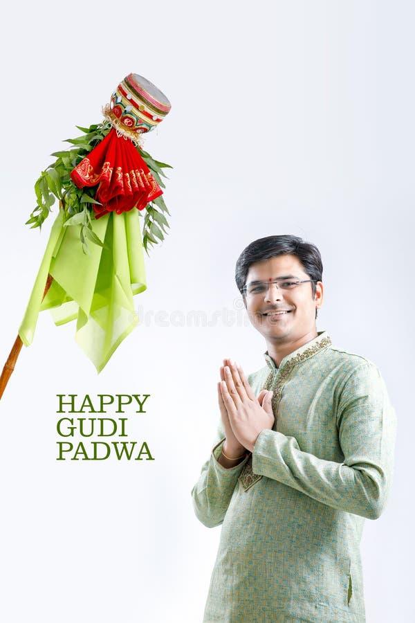 Marathi nieuw jaar van Gudipadwa, het jonge Indische het vieren festival van gudipadwa royalty-vrije stock afbeelding