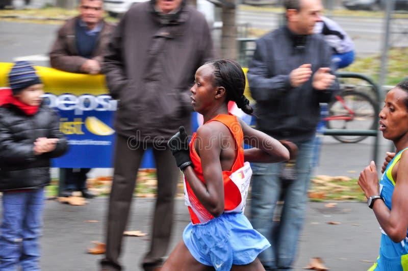 Marathon 2010, Priscah Jeptoo, Kenya de Turin photo libre de droits