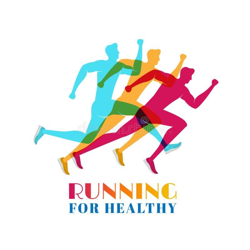 Marathon courant coloré Ensemble de sport et d'activité de silhouettes Concept du fonctionnement pour sain illustration stock