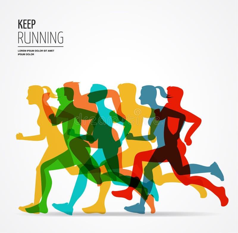 Marathon courant, course de personnes, affiche colorée illustration de vecteur
