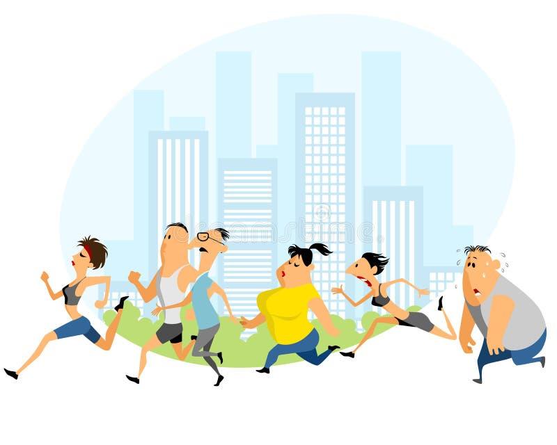 Marathon courant de gens illustration stock