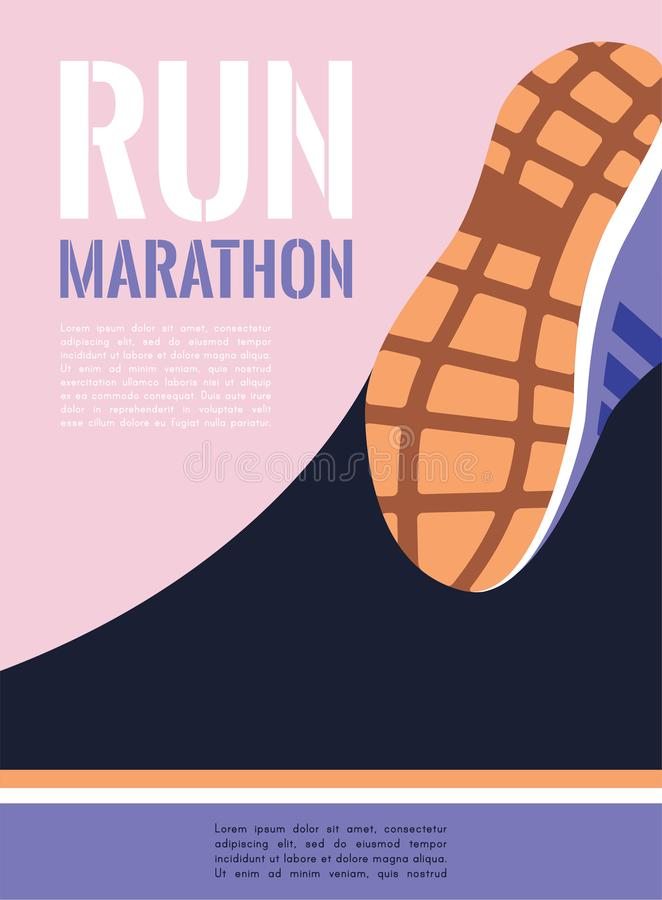 Marathon courant de ville pieds de coureur d'athlète fonctionnant sur le plan rapproché de route vecteur d'illustration illustration libre de droits