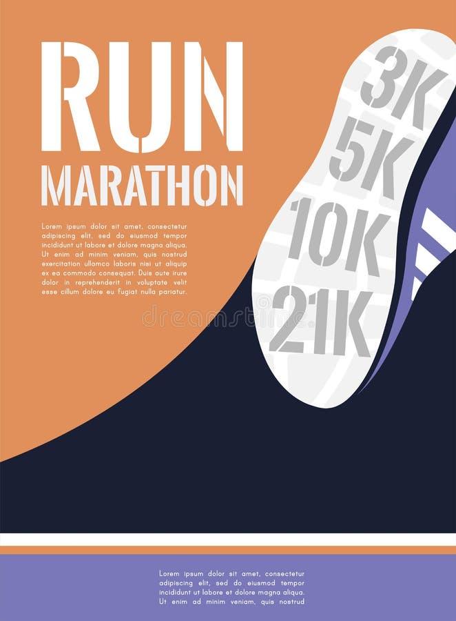 Marathon courant de ville pieds de coureur d'athlète fonctionnant sur le plan rapproché de route vecteur d'illustration illustration stock