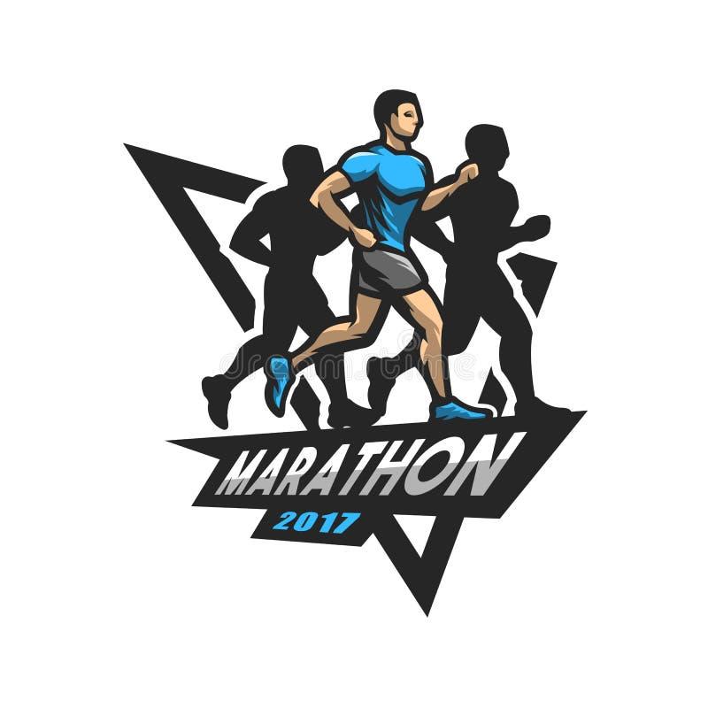 Marathon courant, emblème, logo illustration stock