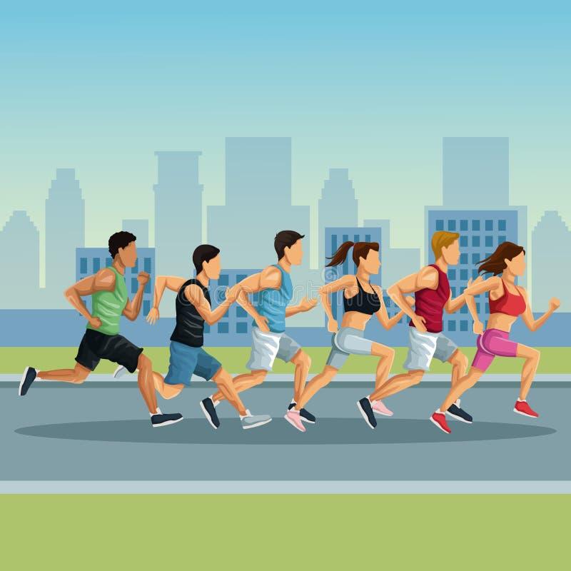 Marathon dans la bande dessinée de ville illustration stock