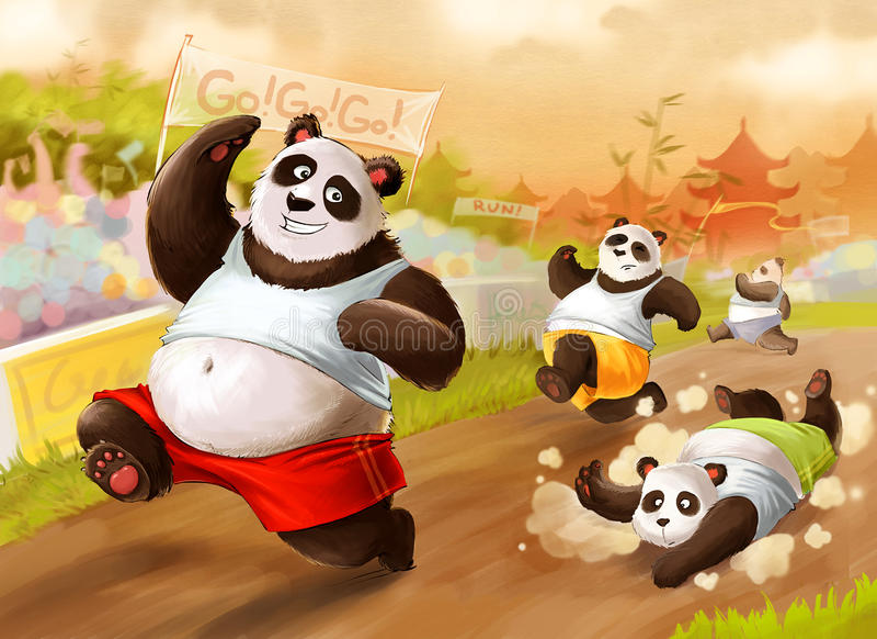 Marathon de pandas illustration stock