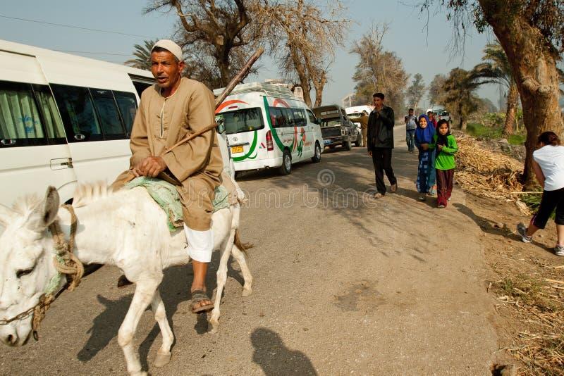 Marathon through egyptian countryside stock images