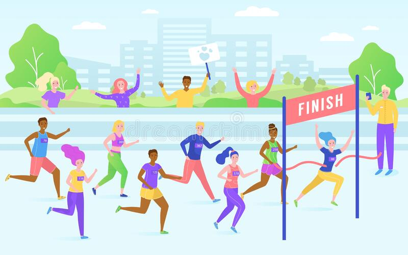 Marathon finish race, running competition, athlete sprinter sportsmen people run line vector illustration. Marathon finish race, running competition, athlete stock illustration