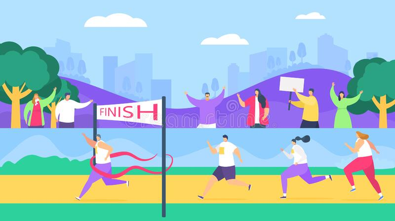 Marathon finish runners, running competition, athlete sprinter sportive people run line vector illustration. Marathon finish runners, running competition stock illustration