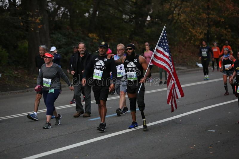 Marathon NYC 2019 sport event in Central Park royalty free stock photo