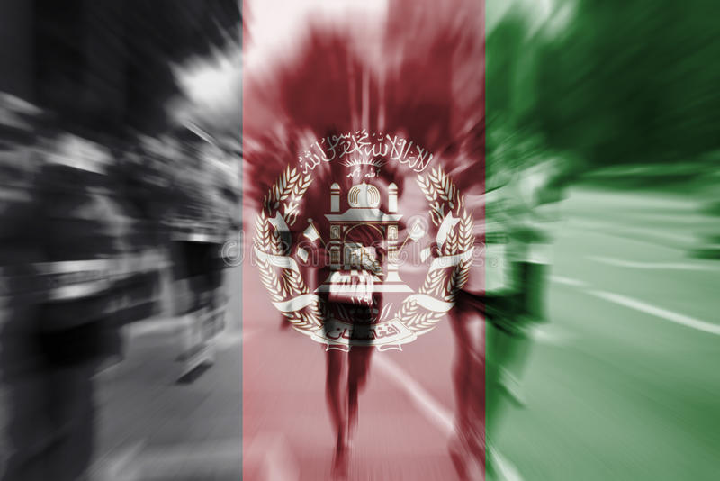 Marathon runner motion blur with blending Afghanistan flag royalty free stock photography
