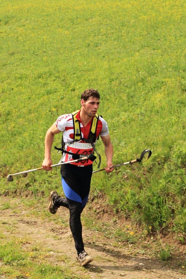 Marathon runner in the mountains stock photos