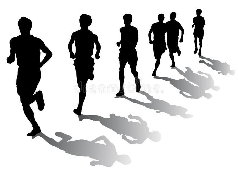 Marathon runners royalty free illustration