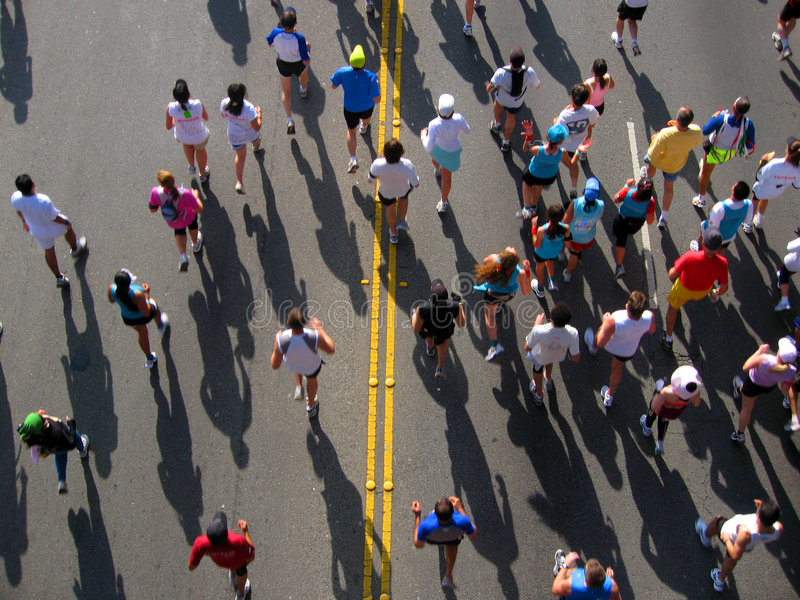 Marathon runners from above royalty free stock photo