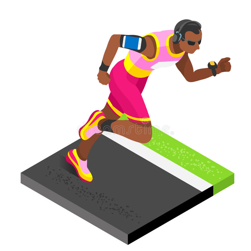 Marathon Runners Athletic Training Working Out Gym. Runners Running vector illustration