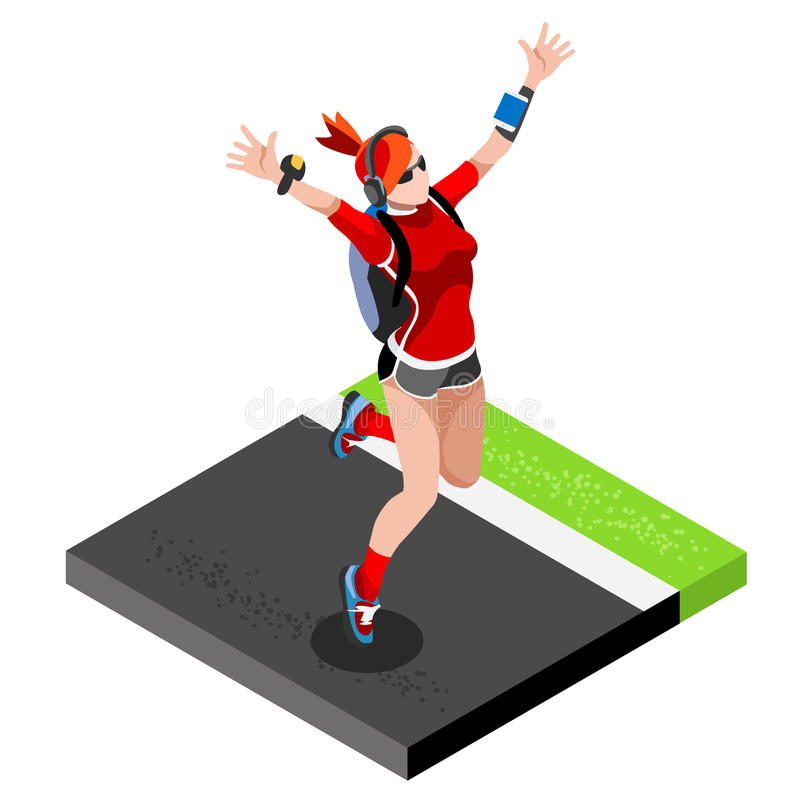 Marathon Runners Athletic Training Working Out Gym. Runners Running Athletics race Working Out for international championship comp. Etition. 3D Flat Isometric vector illustration