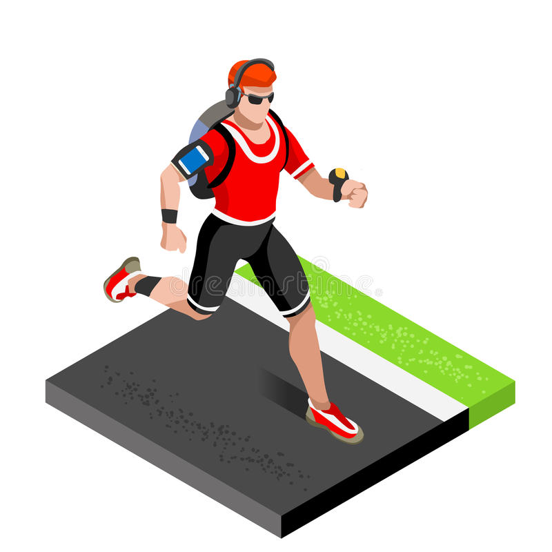 Marathon Runners Athletic Training Working Out Gym. Runners Running Athletics race Working Out for international championship comp. Etition. 3D Flat Isometric stock illustration