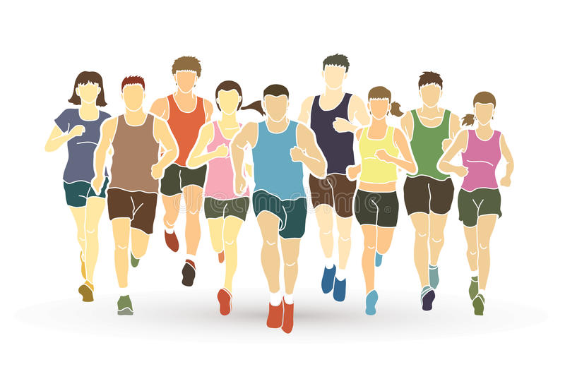 Marathon runners, Group of people running, Men and women running royalty free illustration