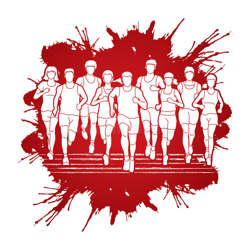 Marathon runners, Group of people running, Men and women running together. Graphic vector vector illustration