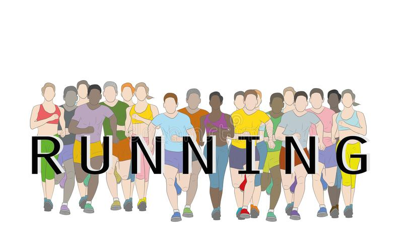 Marathon runners, Group of people running, Men and Women running with text running design using grunge brush graphic vector. stock illustration