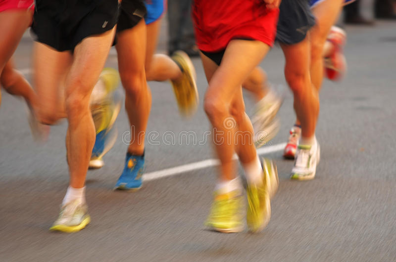 Download Marathon Runners Legs Stock Image Of Follow Leading