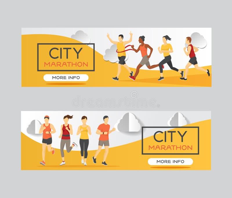 Marathon runners race group vector illustration. Running men and women at finish of marathon race, win, sprint. Landing royalty free illustration