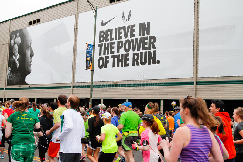 Marathon Runners Racing in Eugene, OR stock photo