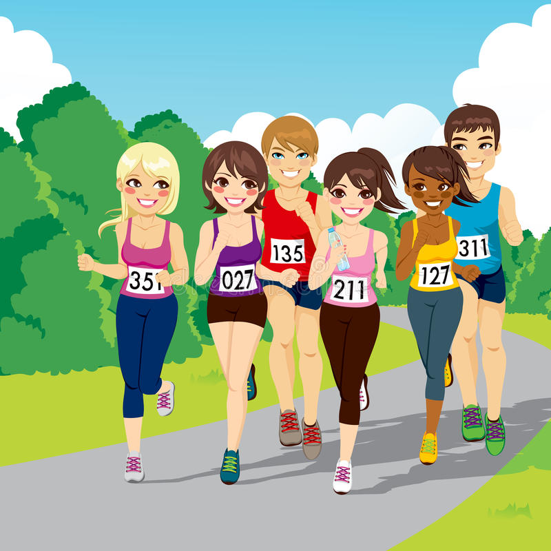 Marathon Running Competition royalty free illustration