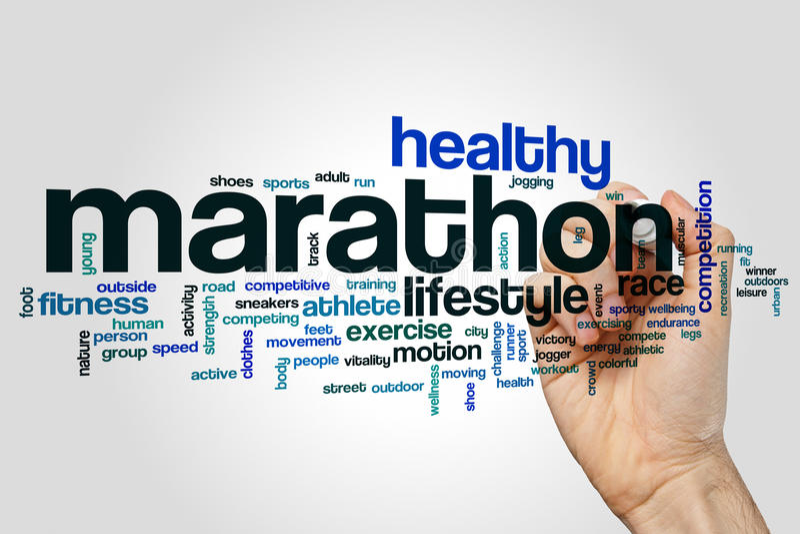 Marathon word cloud stock image