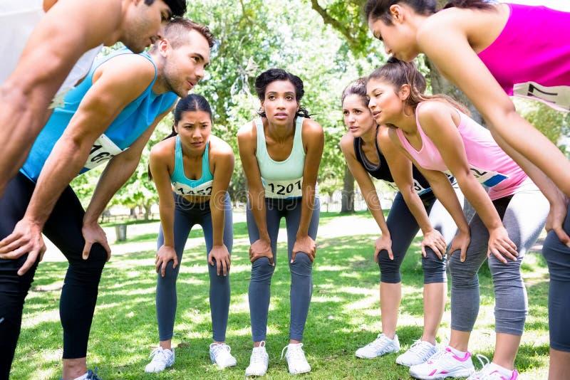 Marathonagenten die vóór ras bespreken stock fotografie