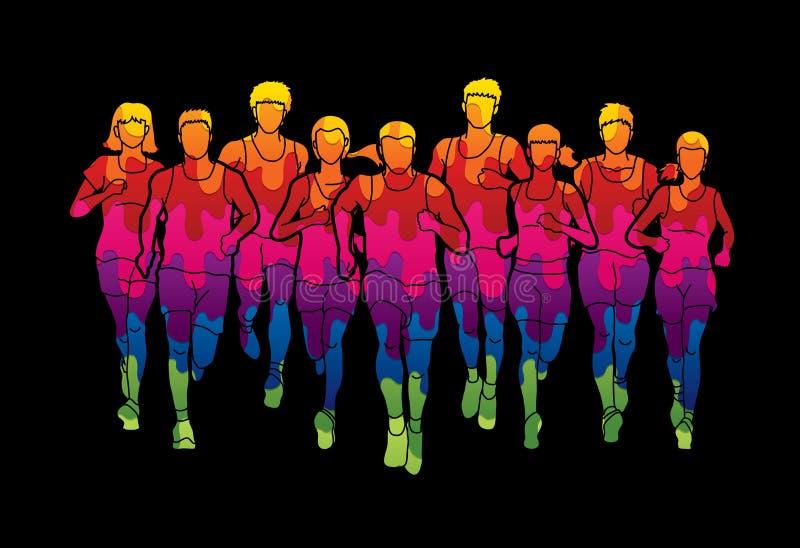 Marathonagenten, Groep die mensen, Mannen en vrouwen het lopen lopen stock illustratie
