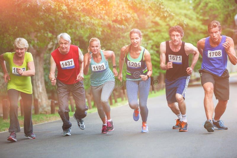 Marathonatleten op beginnende lijn royalty-vrije stock foto's