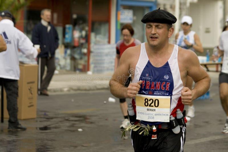 Marathoner francese nella maratona del classico di Atene fotografie stock libere da diritti