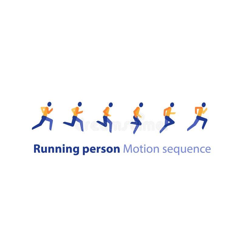 Marathongebeurtenis, lopende opeenvolging, de stappen van de agentmotie, triatlon, vectorpictogram stock illustratie