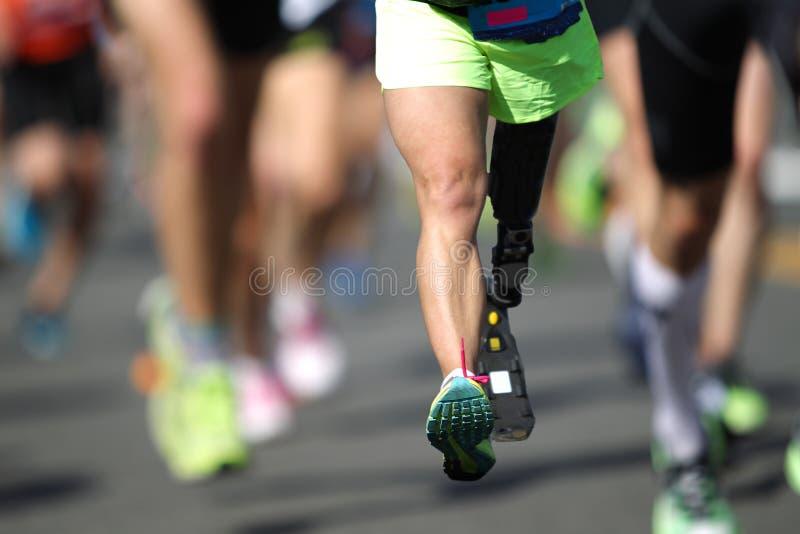Marathonien handicapé photo libre de droits