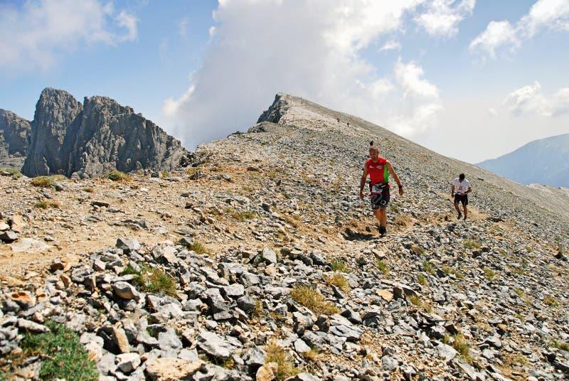 Marathoniens sur la montagne d'Olympe images libres de droits