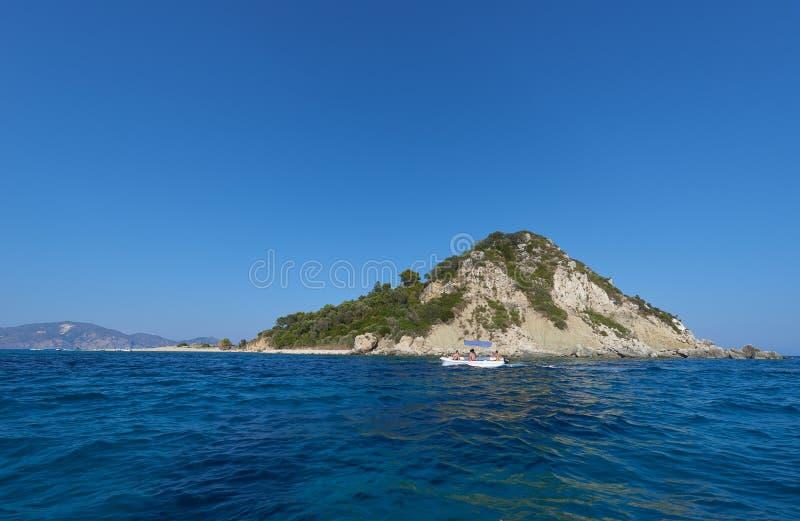Marathonisi the turtle island , Zakynthos stock photo