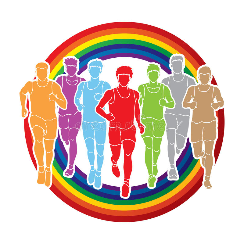 Marathonläufer, Gruppe von Personenen-Betrieb, Mannlaufen vektor abbildung