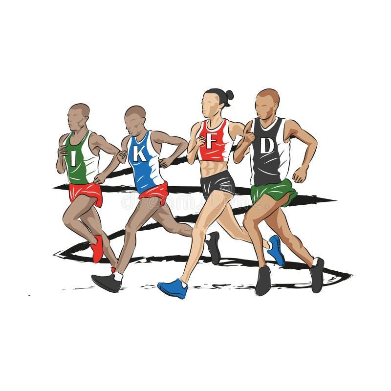 Maratońscy biegacze biega wpólnie boczną stronę - obok - royalty ilustracja