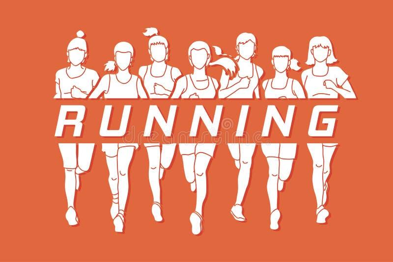 Maratońscy biegacze, grupa kobiety biega z teksta bieg ilustracja wektor