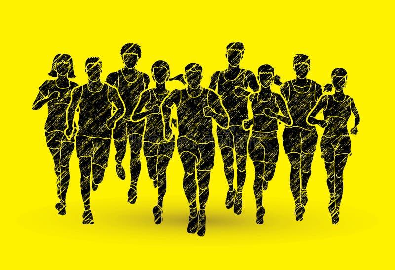 Maratońscy biegacze, grupa ludzi bieg, biegać, mężczyzna i kobiet royalty ilustracja