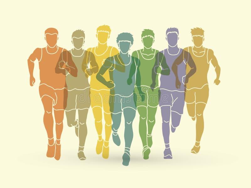 Maratońscy biegacze, grupa ludzi bieg, mężczyzna biegać royalty ilustracja