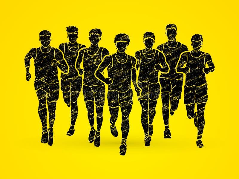 Maratońscy biegacze, grupa ludzi bieg, mężczyzna biegać ilustracja wektor