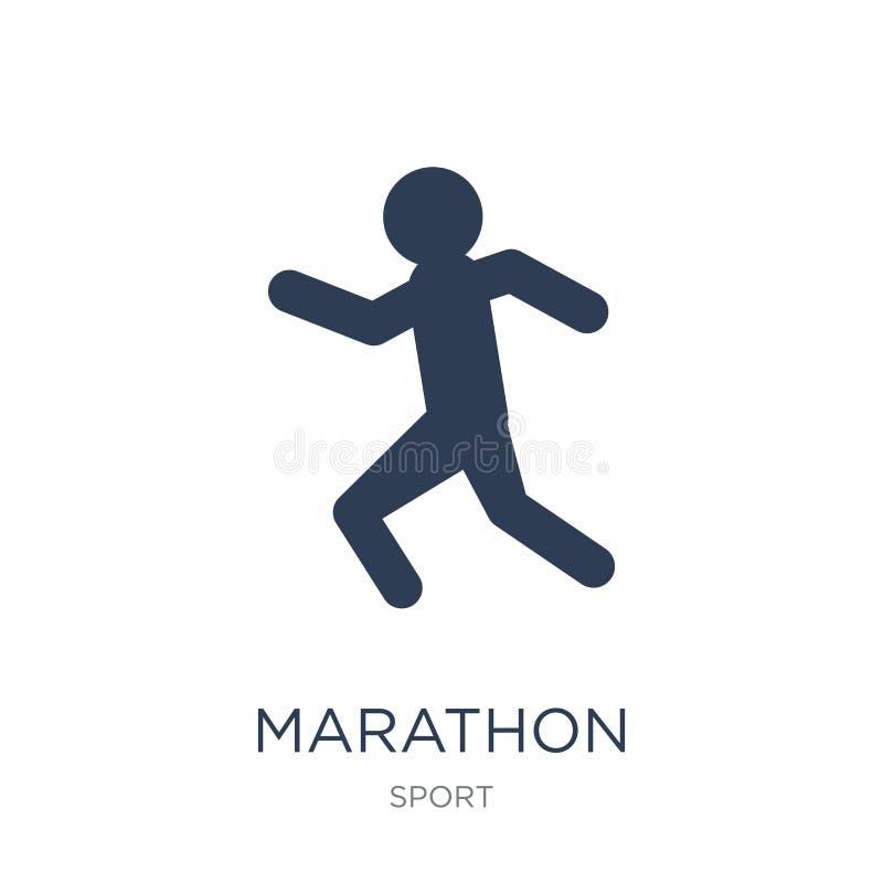 Maratońska ikona Modna płaska wektorowa maraton ikona na białym backgro royalty ilustracja