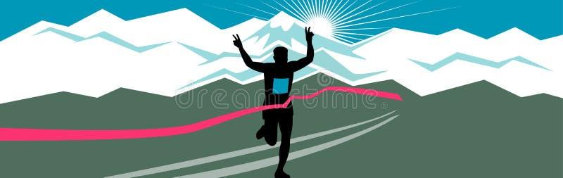 Maratoński biegacz Kończy Szerokiego format ilustracja wektor