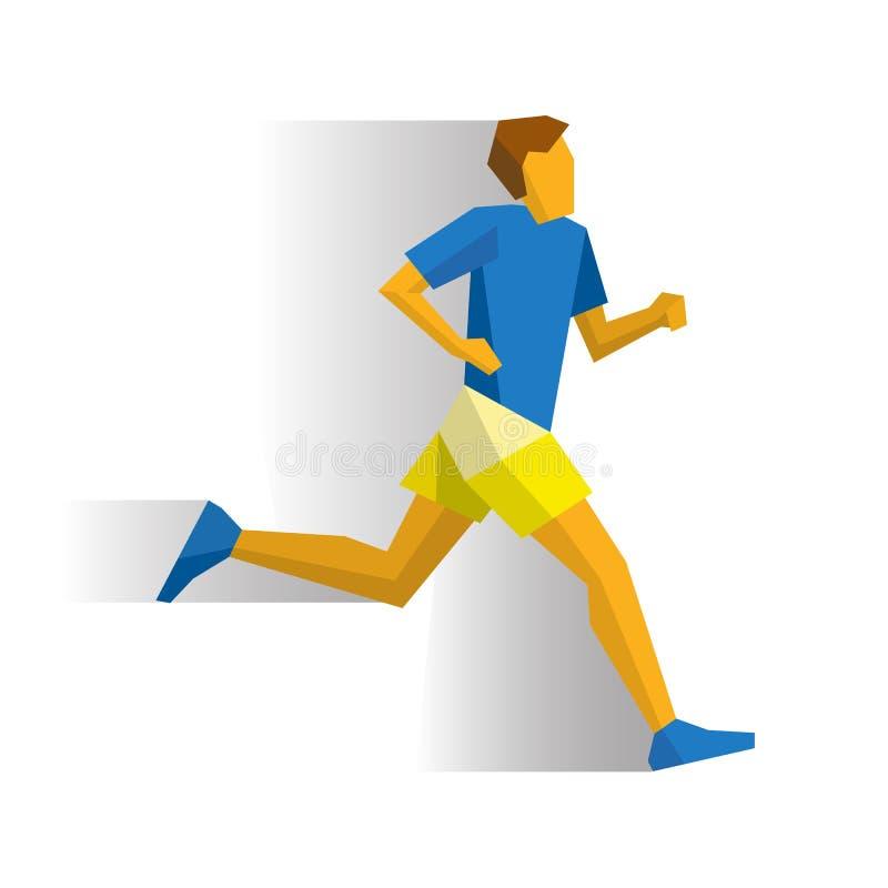 Maratoński biegacz na białym tle z cieniami ilustracji