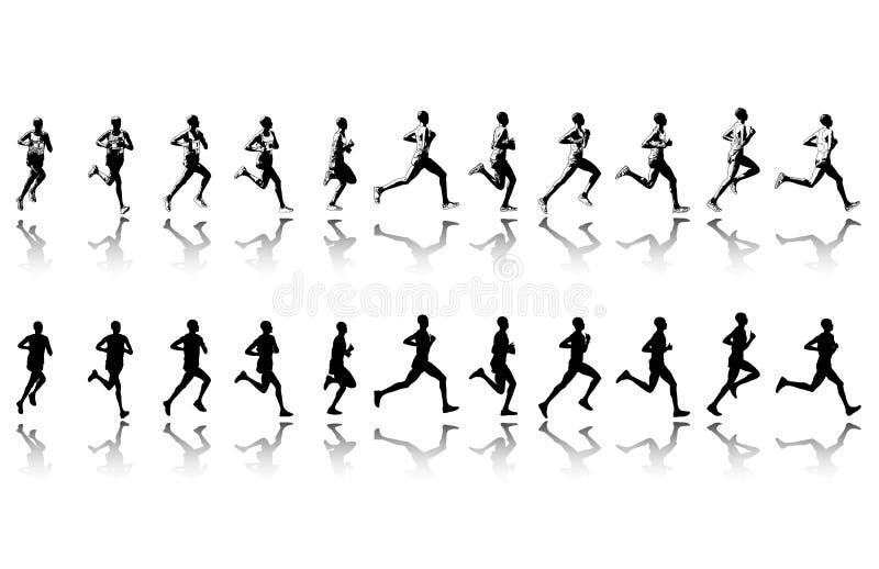 Maratoński biegacz - wektor royalty ilustracja