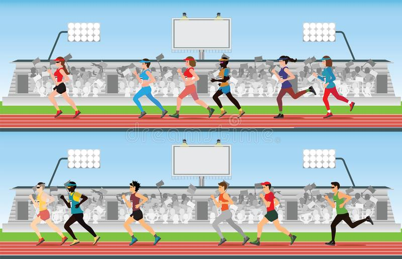 Maratońskiego biegacza kobiety na biegać biegowego ślad z tłumem i mężczyzna ja ilustracja wektor