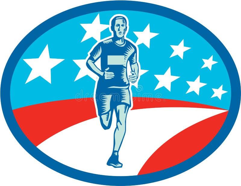 Maratońskiego biegacza usa flaga owalu Woodcut royalty ilustracja
